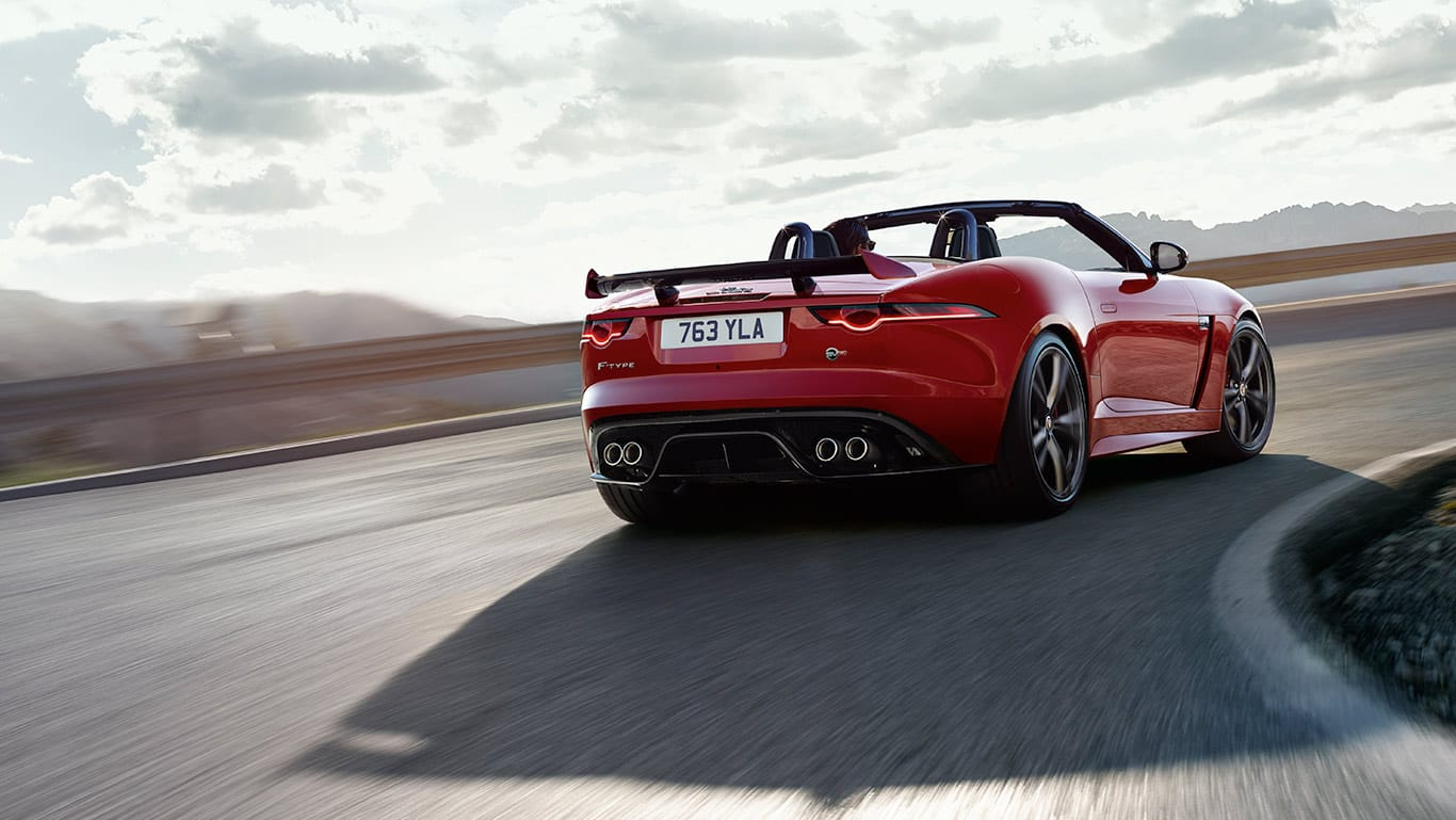 THE F-TYPE SVR IN CALDERA RED WITH OPTIONAL FEATURES FITTED.