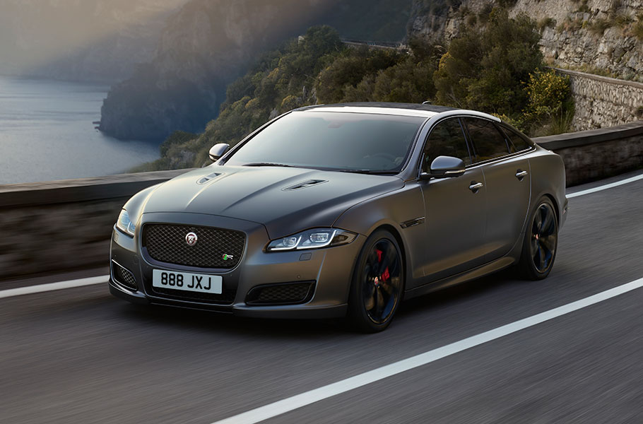Jaguar XJ driving on open road