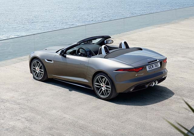 Grey F TYPE Convertibe Exterior Design parked by the Sea