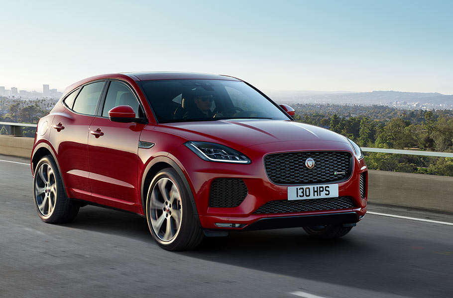 E PACE First Edition in Caldera Red driving on road performance