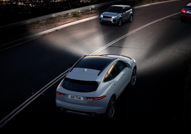 E PACE Matrix LED headlights enable Intelligent High Beam Assist and Adaptive Front Lighting