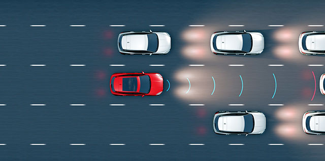 Adaptive Cruise Control automatically reduces E PACE speed to maintain a safe distance