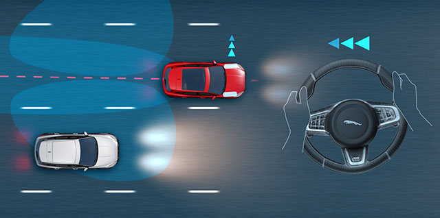 Jaguar Blind Spot Assist alerts you to vehicles in, or quickly approaching your blind spot