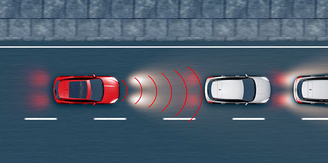 Jaguar E PACE gives a visual and audible forward collision warning if a potential collision is detected