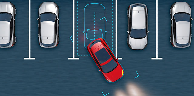 Jaguar E PACE Park Assist makes parallel and perpendicular parking easier