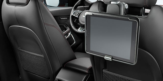 Jaguar Click and Play is a removable tablet holder attachment positioned in different angles