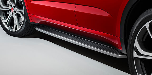 E PACE fixed side step includes bright stainless steel edge trim and a rubber tread mat