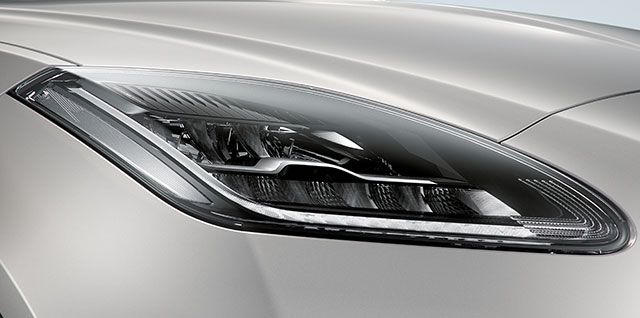 E PACE LED headlights with signature Daytime Running Lights