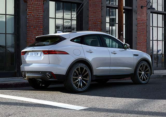 Jaguar White E PACE parked on road