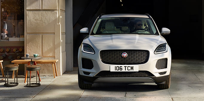 Front angle of new Jaguar E PACE parked on street