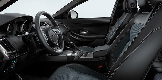 E PACE dynamic Fabric 8 way front seats black interior contrast stiching