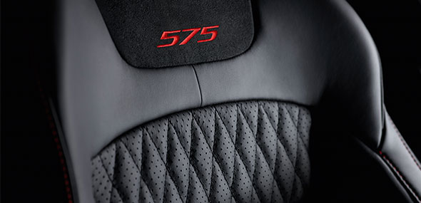 Jaguar XJR 575 quilted leather interior featuring the 575 logo