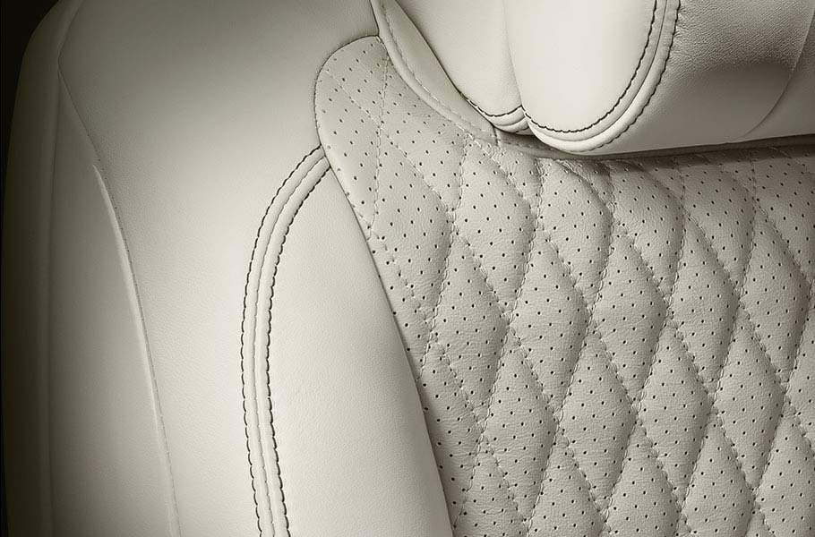 Jaguar Ivory Leather Seat Stitching