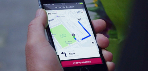 XJ route planner navigation accessed on mobile phone