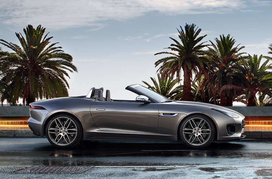 Jaguar F-TYPE R-DYNAMIC Convertible parked alongside a road, with palm trees in the background