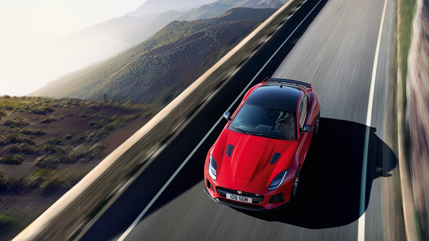 F-TYPE SVR IN CALDERA RED WITH OPTIONAL FEATURES FITTED (MARKET DEPENDENT) (19MY)