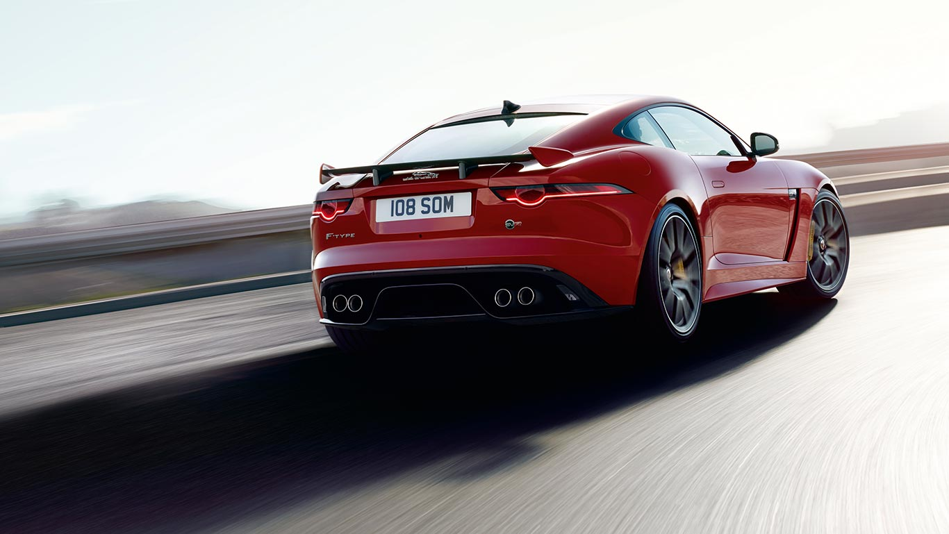 F-TYPE SVR IN CALDERA RED WITH OPTIONAL FEATURES FITTED.