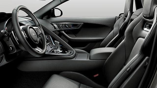 Jaguar F-TYPE R-DYNAMIC Interior, with black leather features and seats