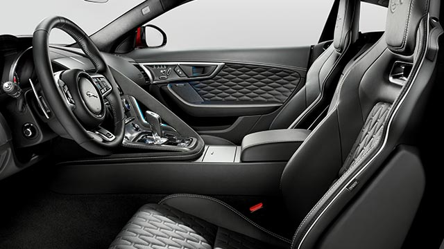 Jaguar F-TYPE SVR Sports Car Interior with black leather seats, and white stitching