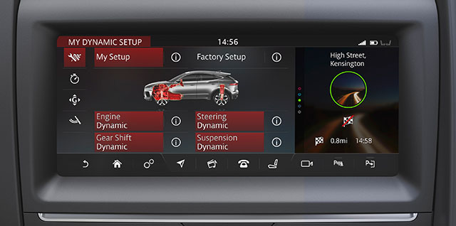 Jaguar Technology Configurable Dynamic Settings via Touchscreen