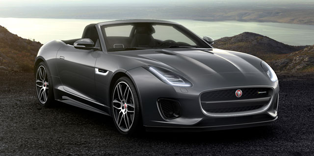 Jaguar F‑TYPE R-DYNAMIC CONVERTIBLE parked on a gravelly surface