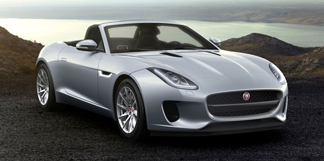 Jaguar F‑TYPE CONVERTIBLE parked on a gravelly surface
