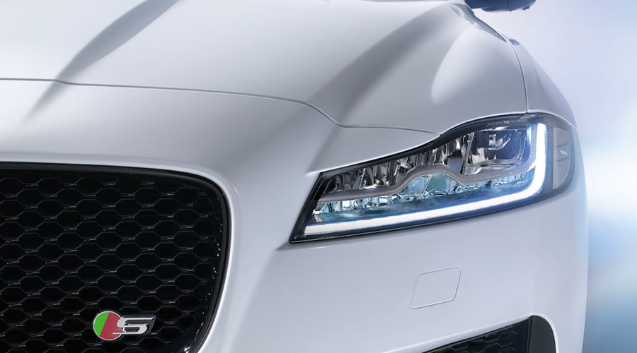 Closeup of a Jaguar XF S light.
