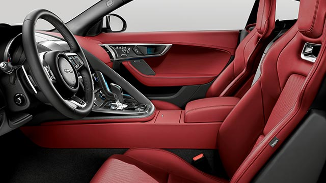 Jaguar F-TYPE R Sports Car interior, with red leather seats and features