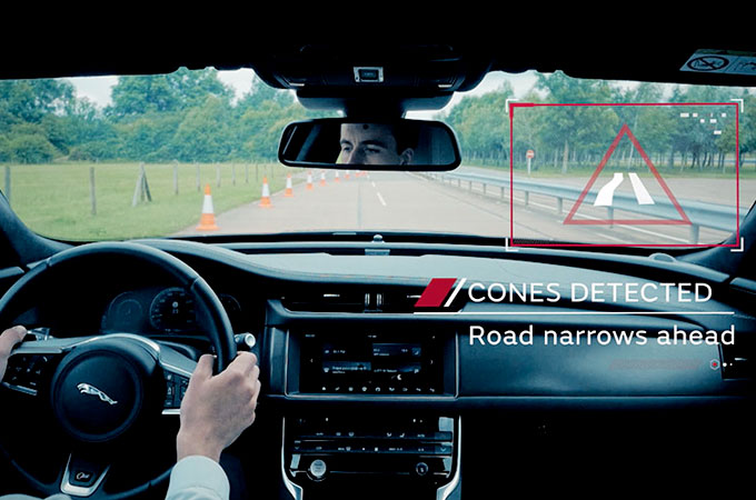 Internal WIndscreen View Of A Jaguar Testing Autonomous Vehicle Technology.
