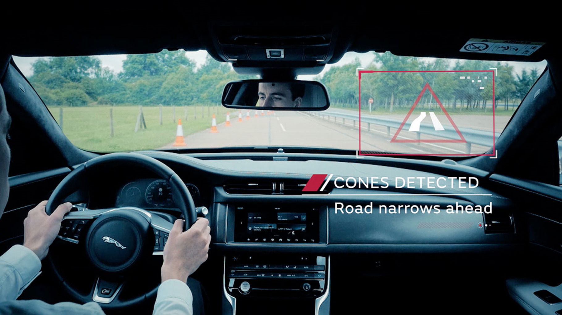 Internal View Of Windscreen Of A Jaguar Testing Autonomous Vehicle Technology
