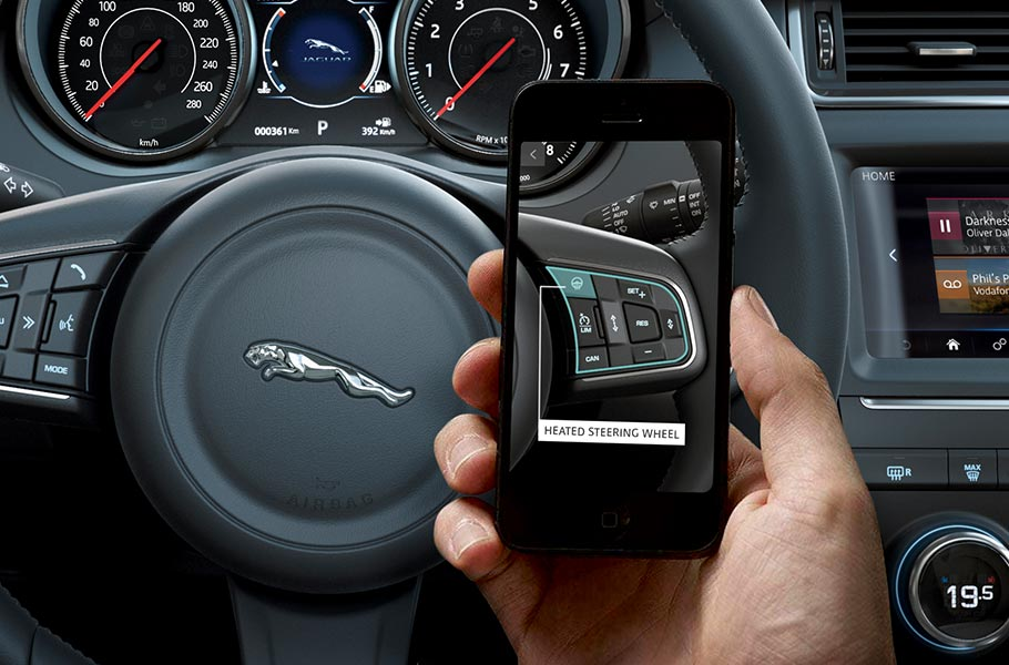 iGuide App displayed on mobile phone compatible with E-PACE
