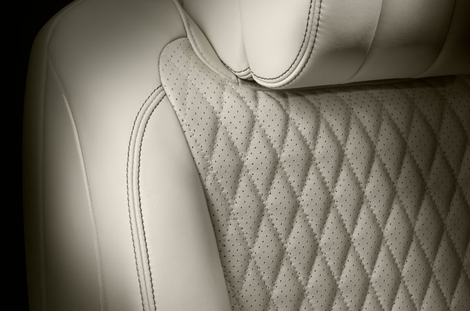 Jaguar XJ Diamond Quilted Stitch Leather on Interior Seats.