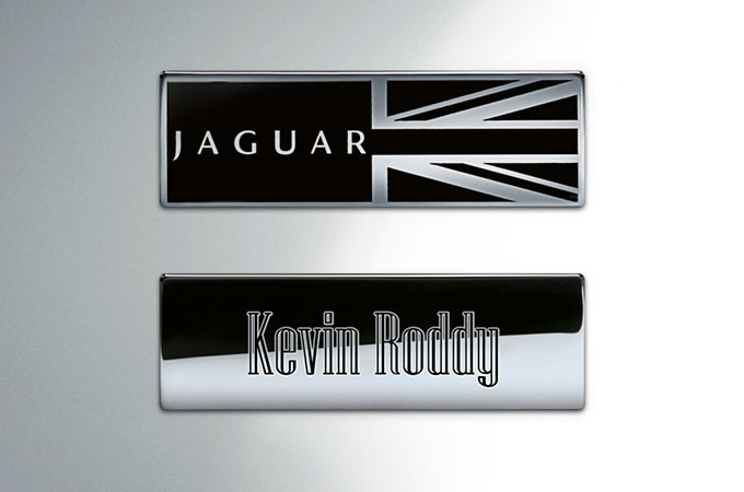 Jaguar XJ Intaglio Text.