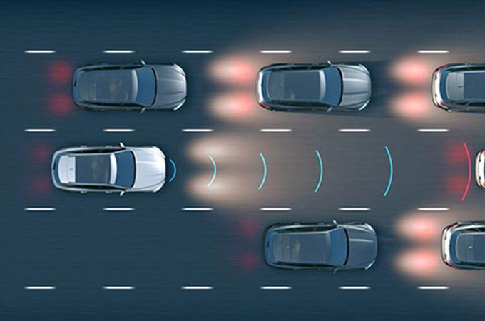 Jaguar XJ Adaptive Cruise Control with Queue Assist Computer Generated Image.