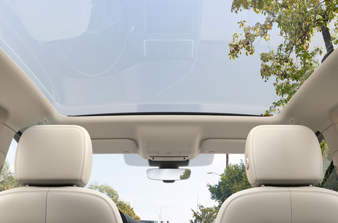 Jaguar E-Pace interior showing Panoramic Roof.