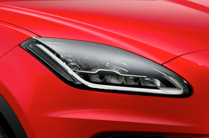 Jaguar E-Pace Head Lights side profile close-up.