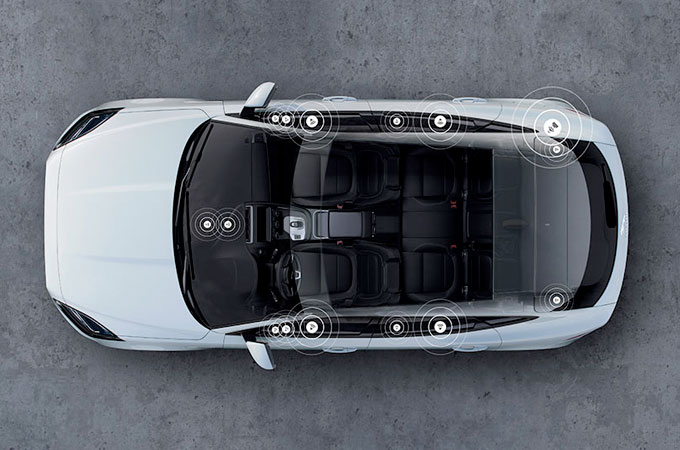 Aerial view of Jaguar E-Pace highlighting sound system locations.