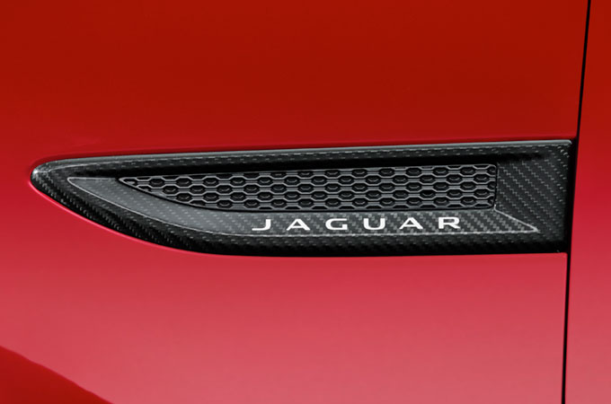 Close-up of Jaguar E-Pace Carbon Fibre Side Vents.