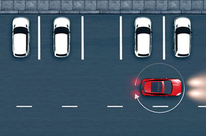 Diagram showing the Jaguar E-Pace Front and Rear parking aid detecting obstacles.