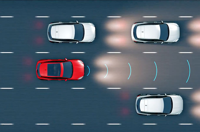 Diagram showing the Jaguar E-Pace's adaptive cruise control with queue assist.