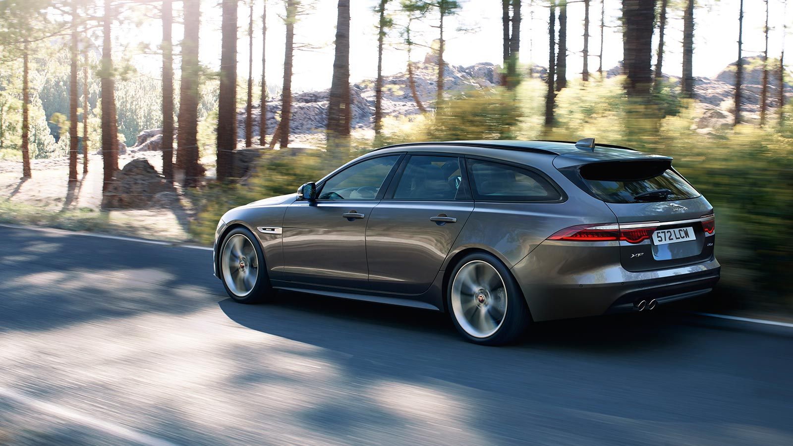 Grey Jaguar XF Driving By Trees.