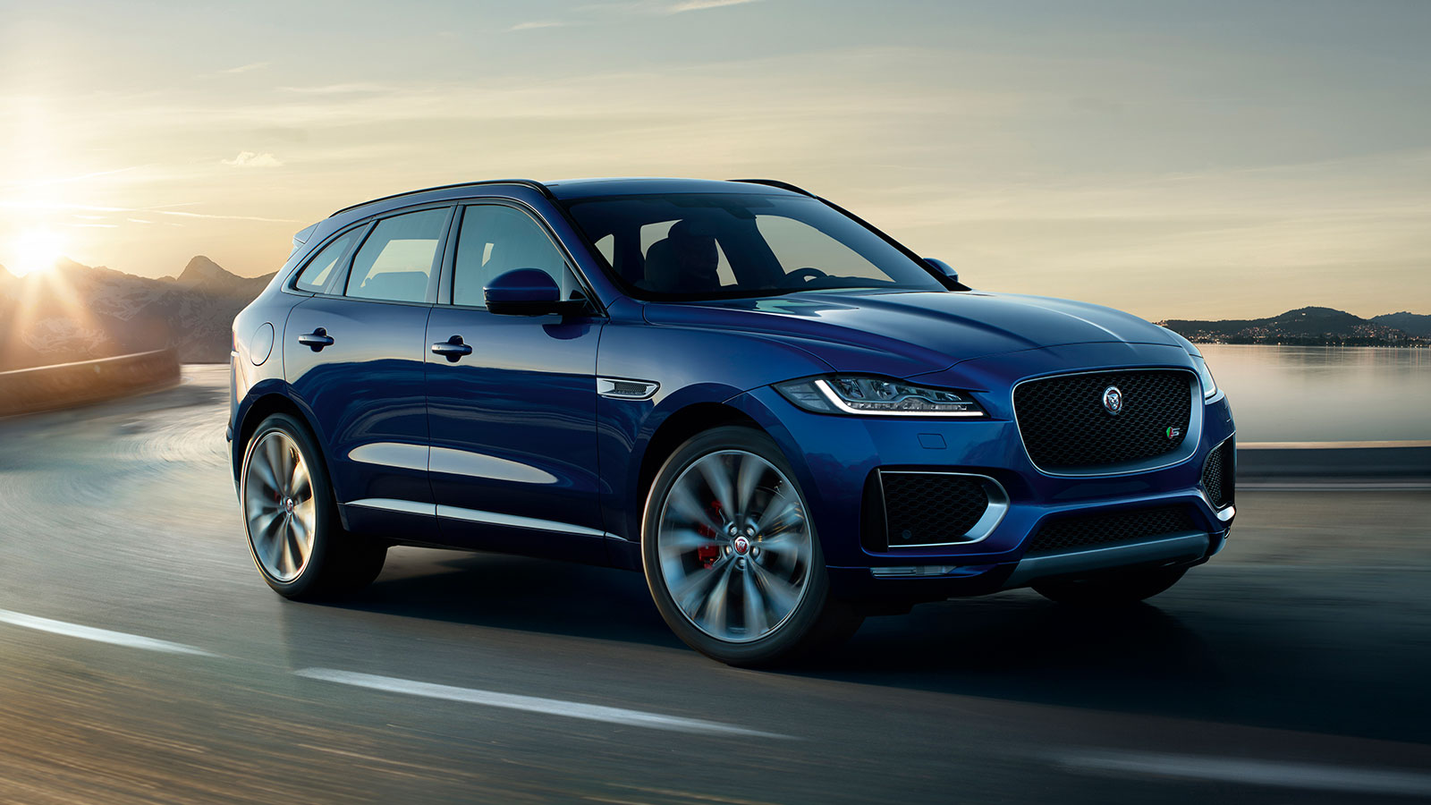 Jaguar F-PACE Blue Exterior On Road.