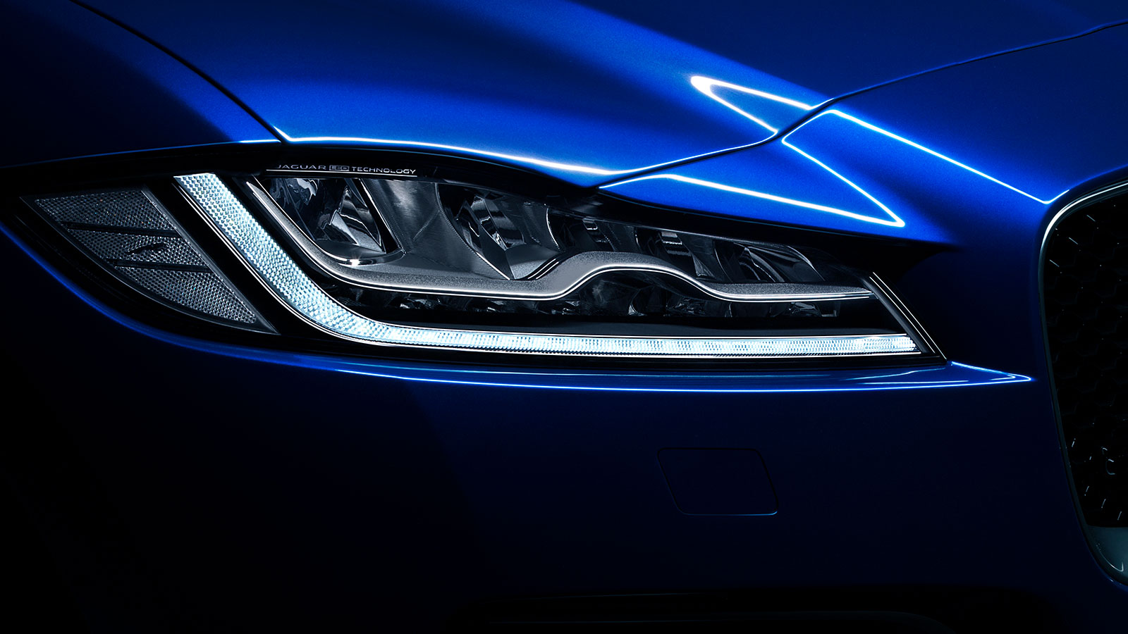 Jaguar F-PACE Blue Exterior Headlight.