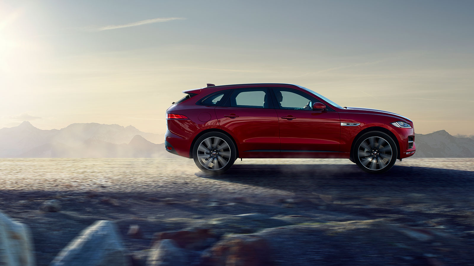 Jaguar F-PACE Red Exterior Off Road.