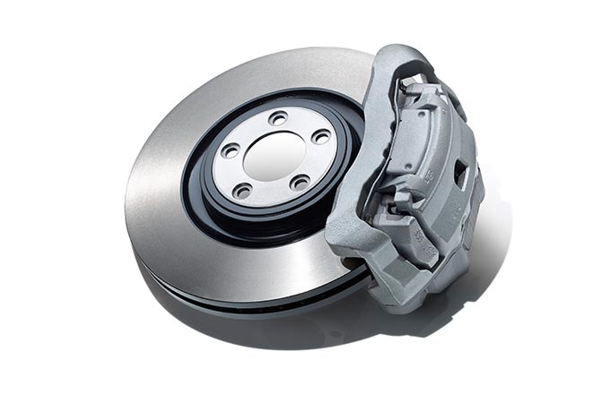 A silver Jaguar Wheel Brake.