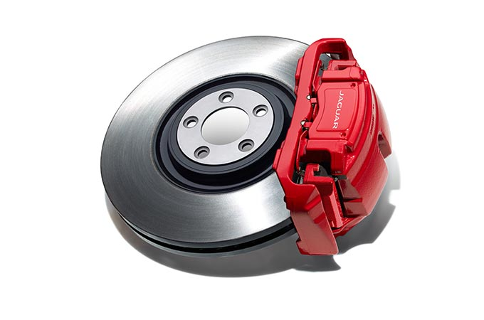 A red Jaguar Wheel Brake.