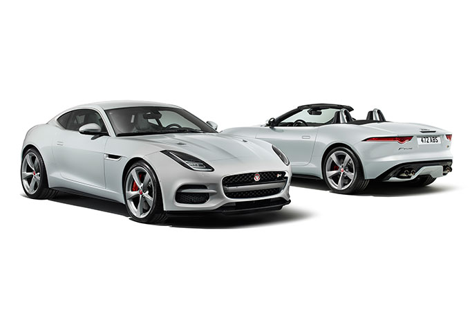 The front of an F-type R Coupe and the rear of an R Convertible.