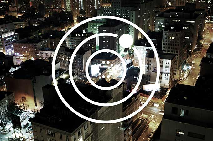 Tracker Symbol Overlayed Onto Cityscape.