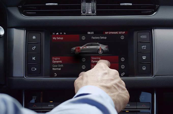 Jaguar XF Configurable Dynamics Touch Screen Display.