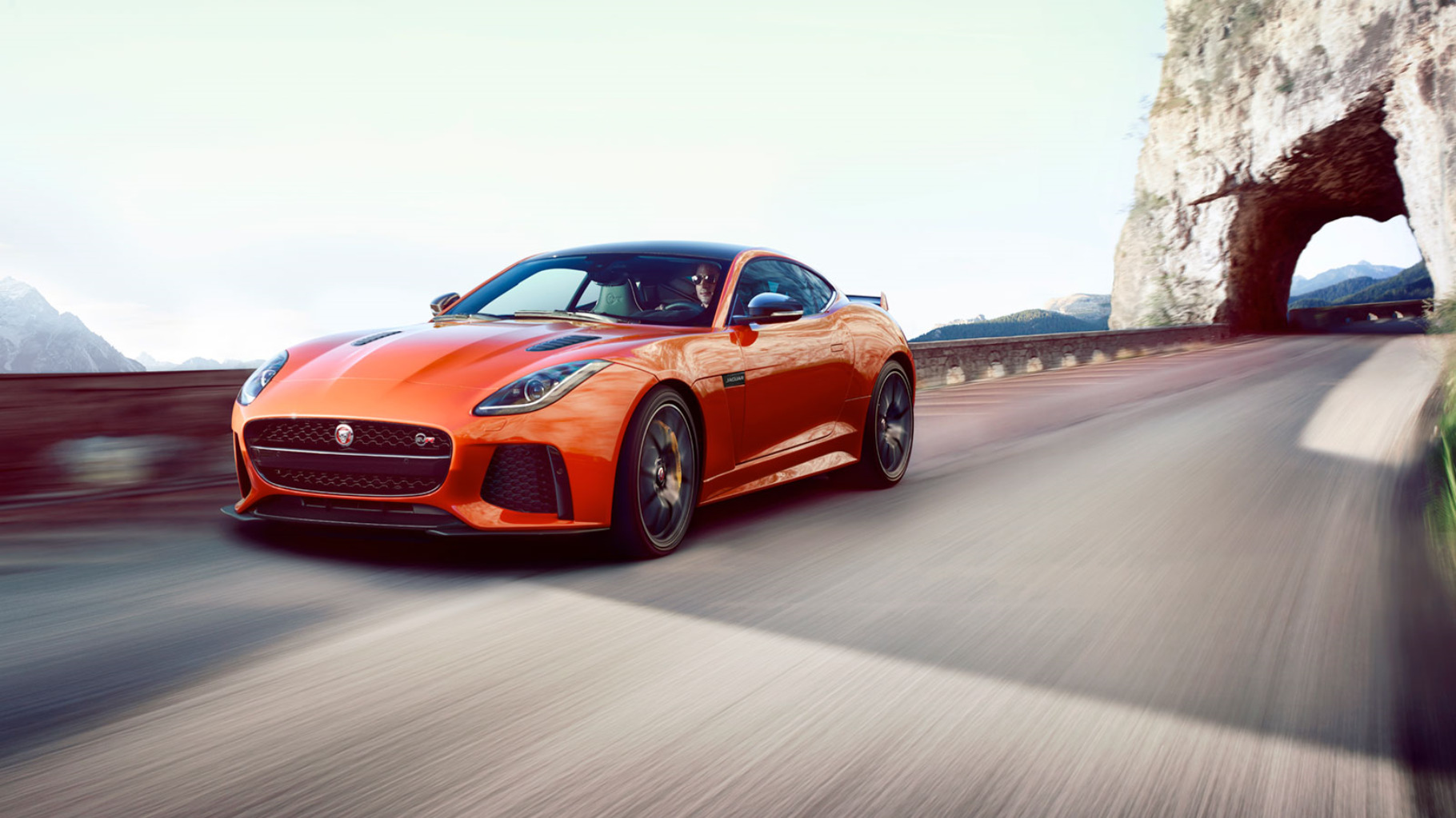 Jaguar F-Type SVR coming round a bend.